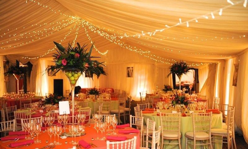 Inside marquee arrangement for wedding